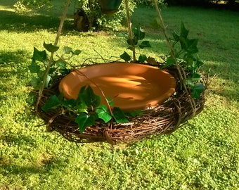 Bird bath bird feeder, clay saucer birdfeeder, hanging grapevine feeder