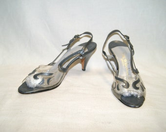 Vintage Bill Valentine 70's Pewter Leather Strap Heels Shoes - Size 7S