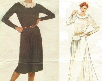 80s Jean Muir Womens Day or Evening Dress Vogue Sewing Pattern 2889 Size 14 Bust 36 Designer Original Raglan Sleeve Stretch Knits Only