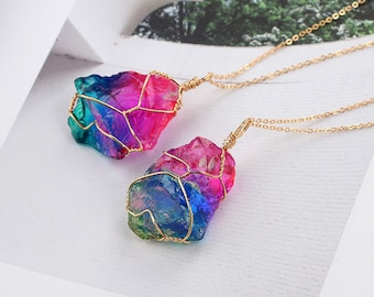 Rainbow Pendant Quartz Necklace