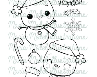 CUTE SNOWMEN SET- digital stamps for scrapbooking, cardmaking, project life, tags and winter/Christmas crafts.  Digital download