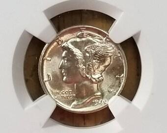 1940 10c Mercury Dime NGC MS 65 FB