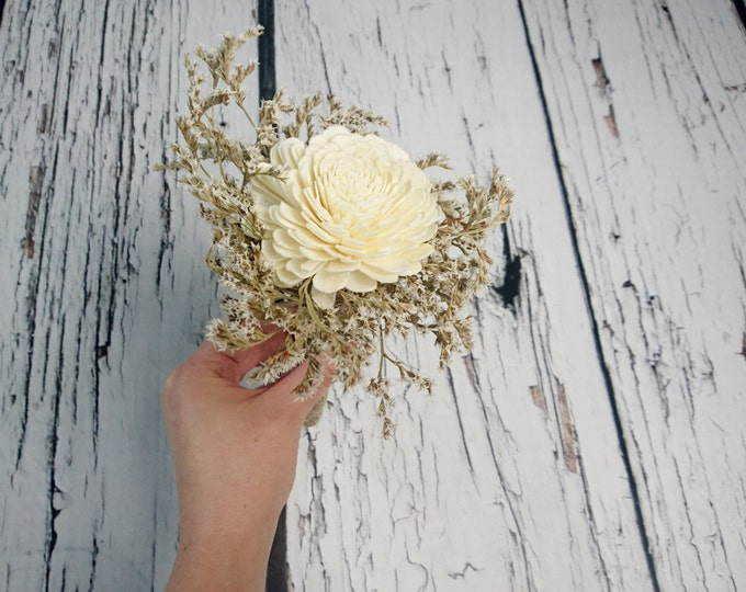 Flowergirl wand cream rustic wedding Ivory Flower, dried limonium burlap handle, Flower girl, Bridesmaids, sola roses vintage custom