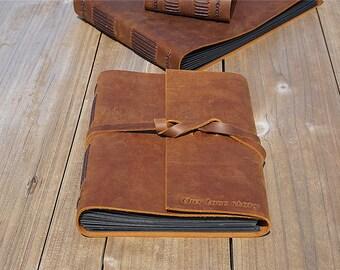 Handmade leather photo album Custom wedding album scrapbook album personalised album Custom guest book brown leather free personalized