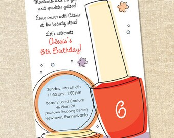 Sweet Wishes Girl's Make-Up and Polish Party Invitations - PRINTED - Digital File Also Available