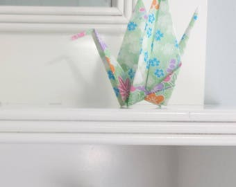 Origami Paper Crane decoration - wedding - party decor - favor - baby shower - blossoms in green, blue, white, orange, purple, pink -  #B2ST