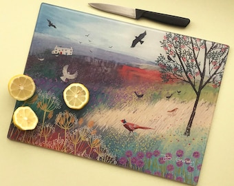 Glass chopping board of English landscape image from an original painting 'The Rowan Tree' with FREE UK post
