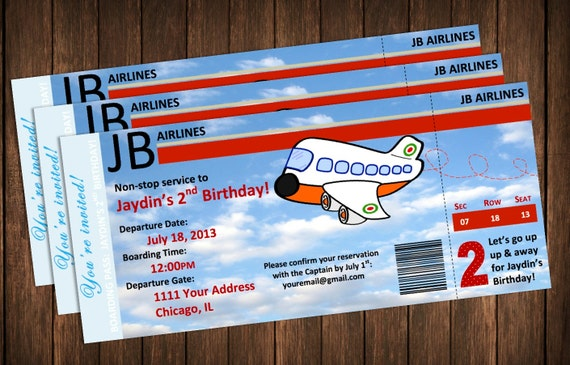 Airplane invitation boarding pass birthday party invite filmwisefo