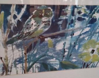 Vintage Daniel Nie Blue Owl Signed and Numbered Art Print