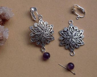 KIT WITH FLOWER CLIP EARRINGS VINTAGE, AND PURPLE AMETHYST STONES