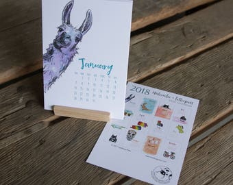 2018 Watercolor and Letterpress Collection Desk Calendar, hand drawn with wooden stand, letterpress printed eco friendly