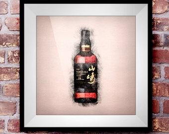 Yamazaki 18 - Crosshatch Whisky Wall Art