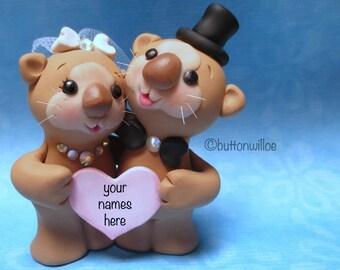 Hugging Sea Otters Wedding Cake Topper, Cute Animal Cake Topper, Personalized Cake Topper, Fun Unique Cake Topper Wedding Decor