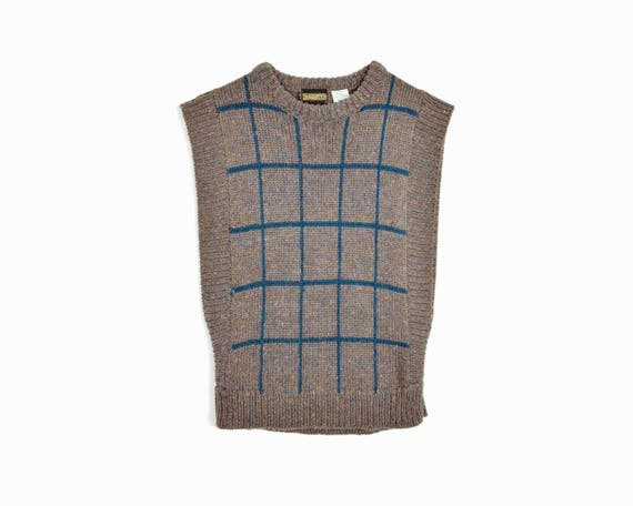 Vintage Windowpane Check Sweater Vest in Taupe - women's medium