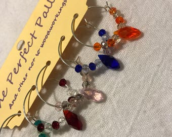 Crystal wine glass charm set