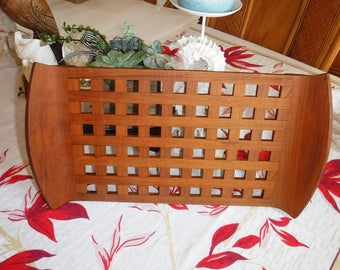 Dansk lattice teak tray Jens Quistgaard Danish modern design
