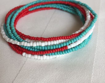 Tiny Seed Bead Multiwrap in Red, Turqoise, White - Tiny Seed Bead Jewelry - Multiwrap Bracelet - Multiwrap Necklace