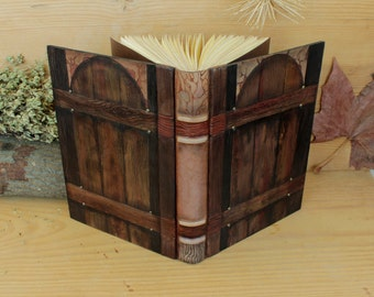 "Leather Journal, Blank Book, Hand tooled and painted decoration, ""Gate to the Soul"", One of a Kind (2/4)"