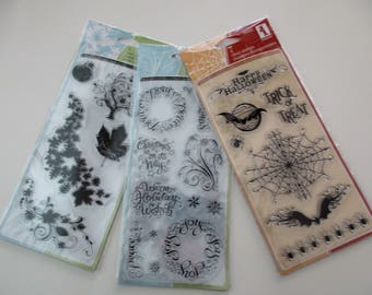 three (3) Inkadinkado clear stamp sets - Halloween, Christmas, autumn, fall, leaves, expressions, sayings, scrapbooking, card making