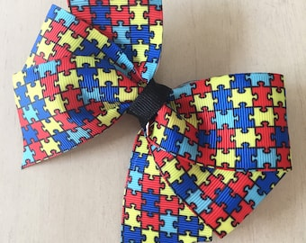 Autism Awareness Bow, Puzzle Piece Bow, Colorful Bow