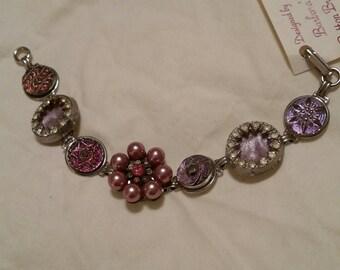 BUTTON BRACELET PURPLE 1940s czech glass and purple pearls rhinestone cut steel starbursts