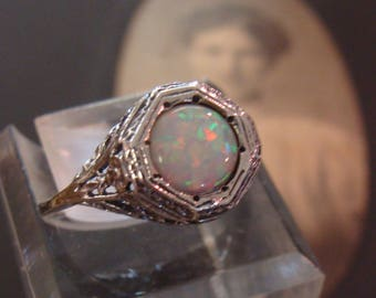Sweet Sterling Filigree Opal Solitaire Ring Size 6.75