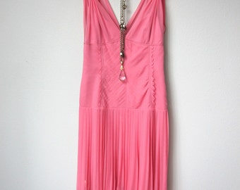100% Silk Elie Tahari Flapper Style Drop Waisted Dress with Sheer Silk Overlay in Rich Pink Color with Hidden Side Zipper, and Pleated Skirt