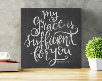 My Grace Is Sufficient -  Gallery Wrapped Canvas | Hand Lettered Inspiration | Wall Art | Inspirational | Canvas Sign | Scripture Art