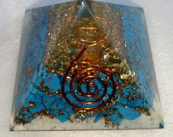 Turquoise Orgone Pyramid 50 MM With Crystal ,Copper, Metal And Pyrite