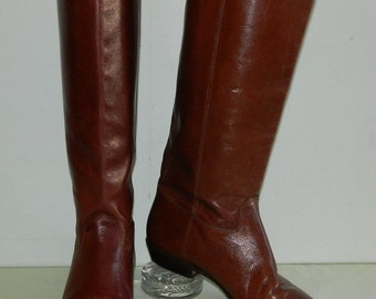 Size 7 M 70s Brown Leather Walking Boots Made in Brazil Riding Boots Low Heel Knee High Boots