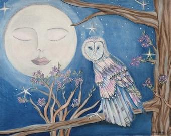 Moon Owl Print