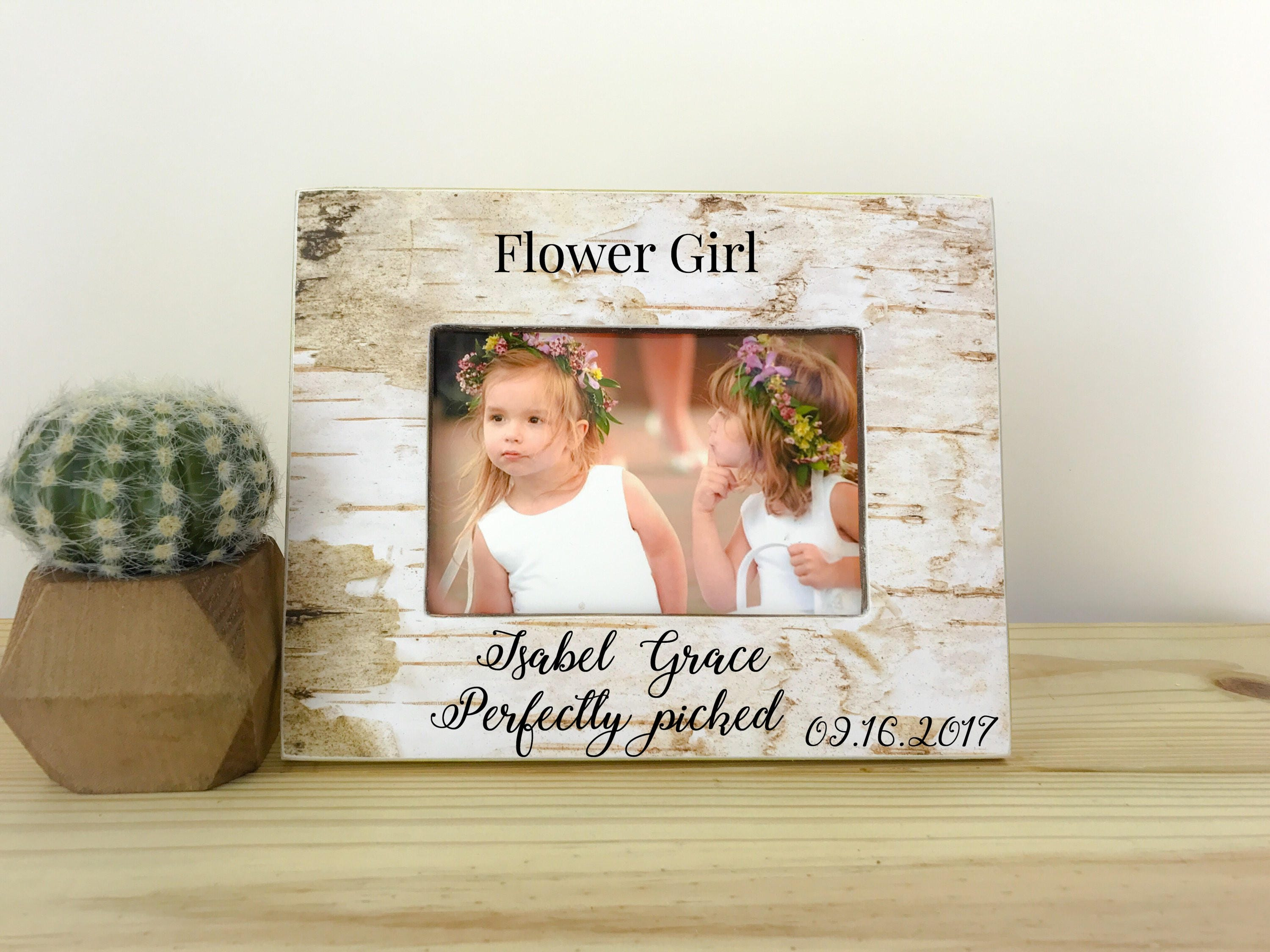 Flower girl frame. Personalized picture frame. Wedding gift.
