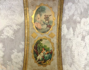 Florentine wood wooden wall hanging plaque gilded Italian Renaissance French regency shabby romantic cottage chic home decor wall art