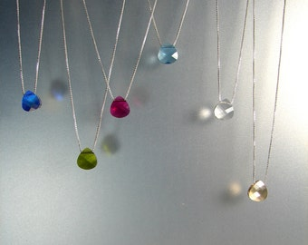 Floating SWAROVSKI crystal Necklace, 925 Sterling Silver  Minimalist Necklace. Box Chain 0.8mm. Long: 16, 17, 18, 19, 20, 21, 22, 24 in