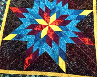 Blazing Star Quilted Wall Hanging - Bright Colors - Lone Star - Mini Quilt - Table Topper - Small Quilt