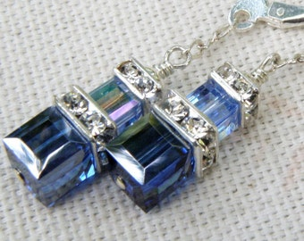 Navy Blue Light Sapphire Crystal Earrings, Sterling Silver, Petite Swarovski Cube Dangle Bridesmaid Wedding Handmade Jewelry, September Gift