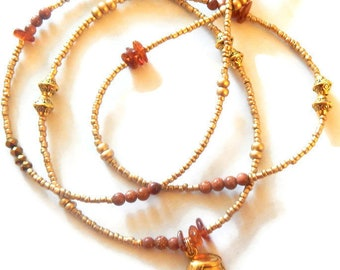 Honey Pot Waist Beads, Oshun Belly Chain, Goldstone-Amber Waist Beads, Honey Pot Waist Chain, African Waist Beads, Sexy Waist Beads