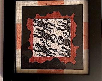 Escher Lizard Black and Red Textured Paper Collage Art