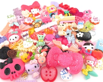 Assorted Mix of Kawaii Cabochons, 50 Pieces of Animals Fruit Embellishments And More