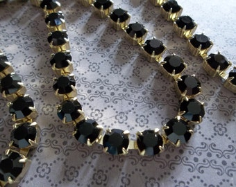 6mm Black Rhinestone Chain - Brass Setting - Opaque Jet Black Czech Crystals- Large Crystal Size 29SS