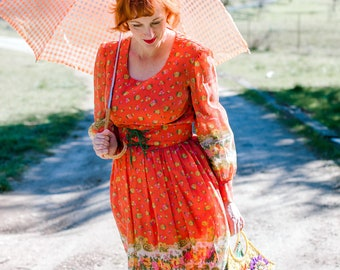 Vintage Floral Cotton 50's Dress