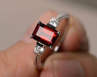 Natural Red Garnet Ring Wedding Ring January Birthstone Ring Emerald Cut Red Gemstone Ring Sterling Silver Ring