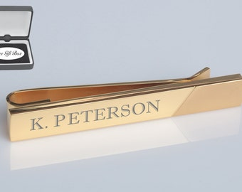 Personalized Tie Clip, Engraved Tie Clip, Gold Tie Clip, Custom Tie Bar, Groomsmen Gifts, Personalized Wedding Gifts - Buy 6, Get 7th Free