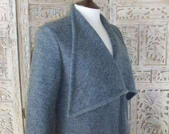 Grey short coat, Boiled Wool Coat, Semi fitted Grey short Coat, Grey light wool Jacket, Designer Coat by Nana Bugler