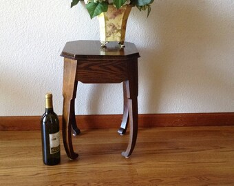Brandt Vintage Art Deco Wood Table, Wine Table, Side Table, Plant Stand