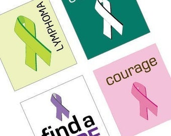 Cancer Survivor and Hope Ribbons - (1x1) One Inch (25mm) Tile Pendant Images - Buy 2 Get 1 Free - Instant Download - Printable Image Collage