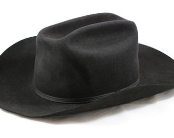 Vintage BEAVER HATS Bullrider Black Coney Fur Cowboy Hat Size 7 Jacke Wolfe Ranchwear