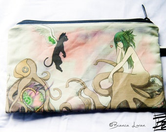 OctoLove Zippered Pouch - Striped Clutch bag Purse Wristlet - steampunk girl anime octopus - Cosmetic pencil school - Bianca Loran Art