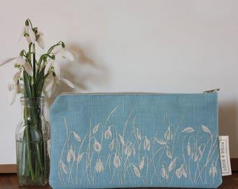 Original screen-printed linen make-up bag, snowdrops design, gift for her