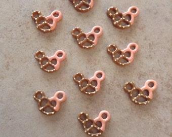 Set of 10 Mickey Mouse Head Pink Pretzel Resins